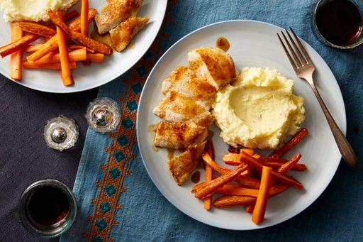 Seared Chicken & Sherry-Maple Pan Sauce with Mashed Potatoes & Roasted Carrots