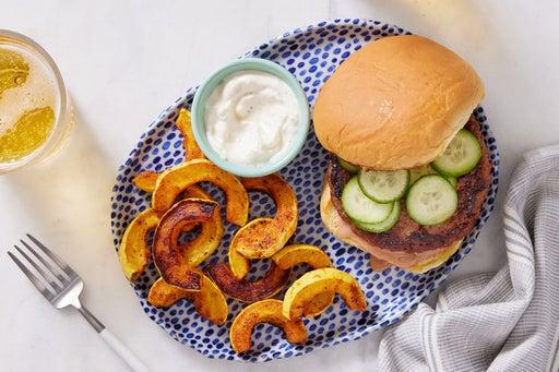 BBQ Beyond Burger™ & Garlic Sour Cream with Roasted Squash