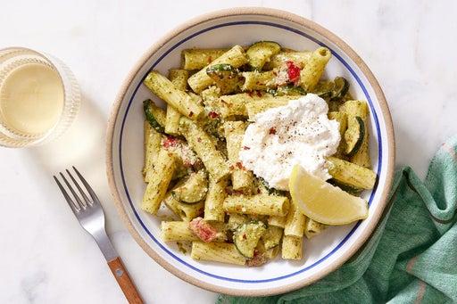 Pesto Pasta with Zucchini & Lemon Ricotta