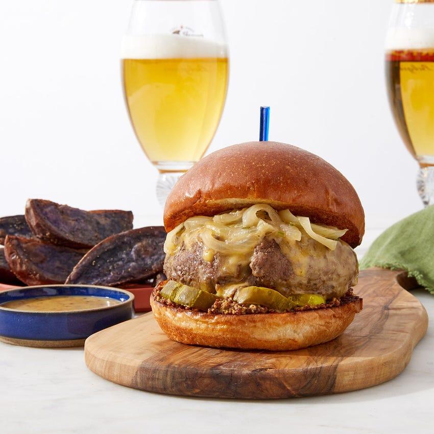 Creamed Onion & Smoked Gouda Burger with Purple Potato Wedges & Honey Mustard