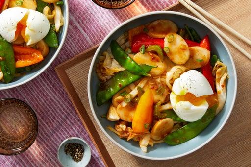 Korean Rice Cakes with Stir-Fried Vegetables & Soft-Boiled Eggs