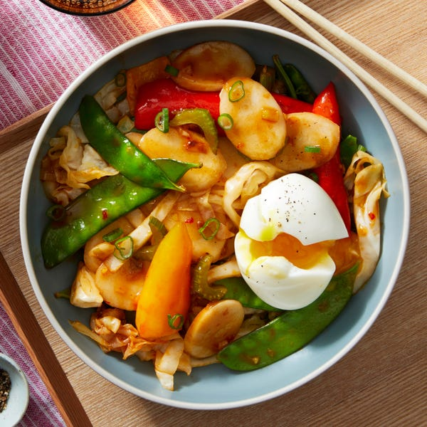 Korean Rice Cakes with Stir-Fried Vegetables & Soft-Boiled Eggs