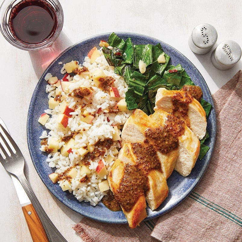 Dijon Chicken Breasts & Apple Rice with Spicy Collard Greens