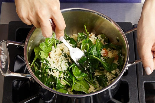 Cook the couscous & spinach