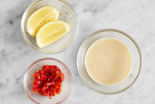 Prepare the remaining ingredients & make the dressing