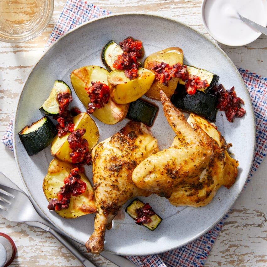 Roast Half Chicken & Yogurt Sauce with Potatoes, Zucchini, & Olive Tapenade