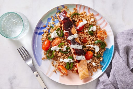 Seared Salmon & Honey-Chipotle Sauce with Vegetable Farro
