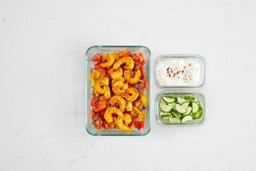 Assemble & Store the Shrimp & Veggie Lettuce Cups