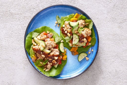 Finish & Serve the Sambal-Peanut Turkey Lettuce Wraps