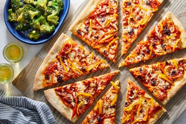 Sweet Pepper & Olive Pizza with Spicy Broccoli