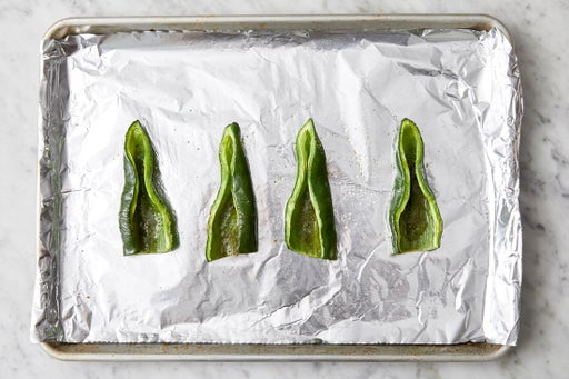 Prepare & roast the poblano peppers: