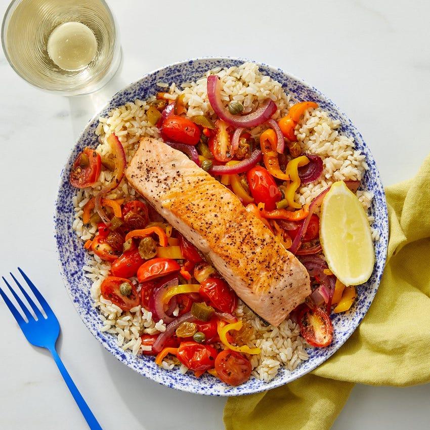 Veracruz-Style Salmon & Vegetables with Brown Rice