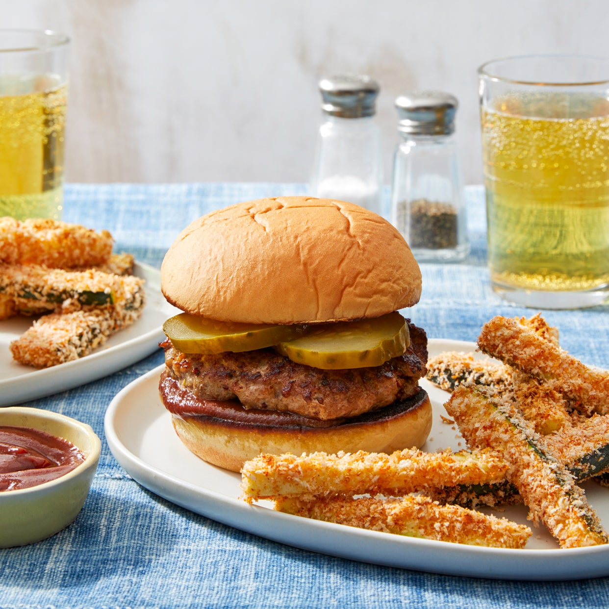 BBQ Pork Burgers with Crispy Zucchini Fries & Smoky Ketchup