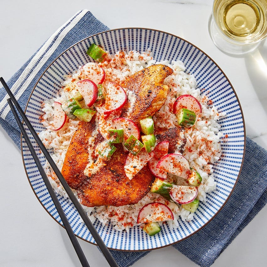 Togarashi Tilapia & Garlic Rice with Marinated Cucumbers & Radishes