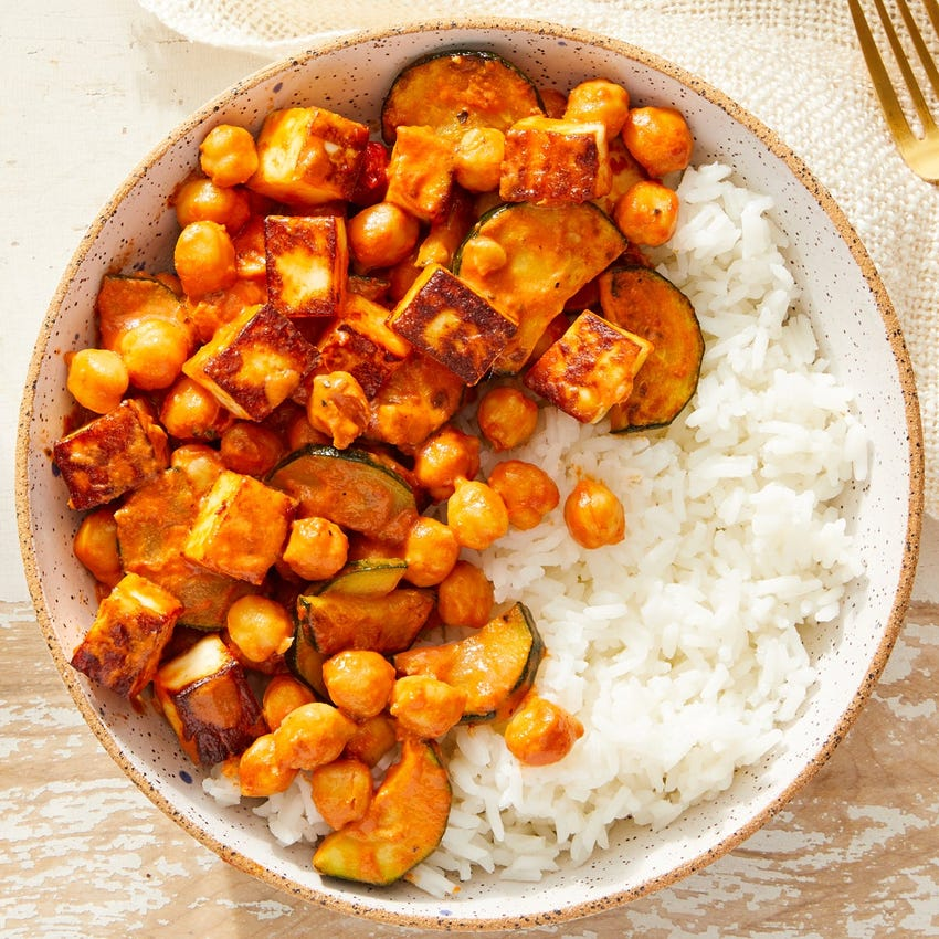 Indian-Style Paneer & Creamy Tomato Curry with White Rice