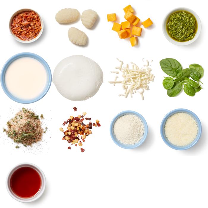 Creamy Pesto Gnocchi & Squash Bake with Spinach & Parmesan Breadcrumbs