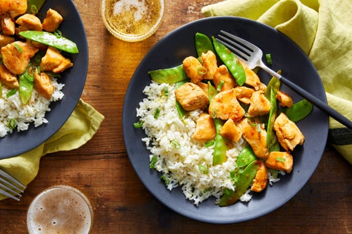 Spicy Chicken & Snow Pea Stir-Fry with Ginger Rice