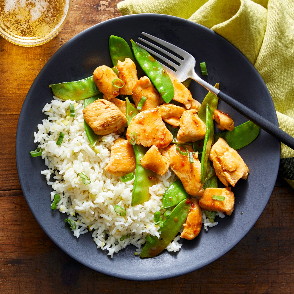 Spicy Chicken & Spring Pea Stir-Fry with Ginger Rice