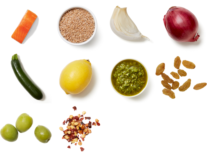Crispy Skin Trout with Salsa Verde & Farro Salad