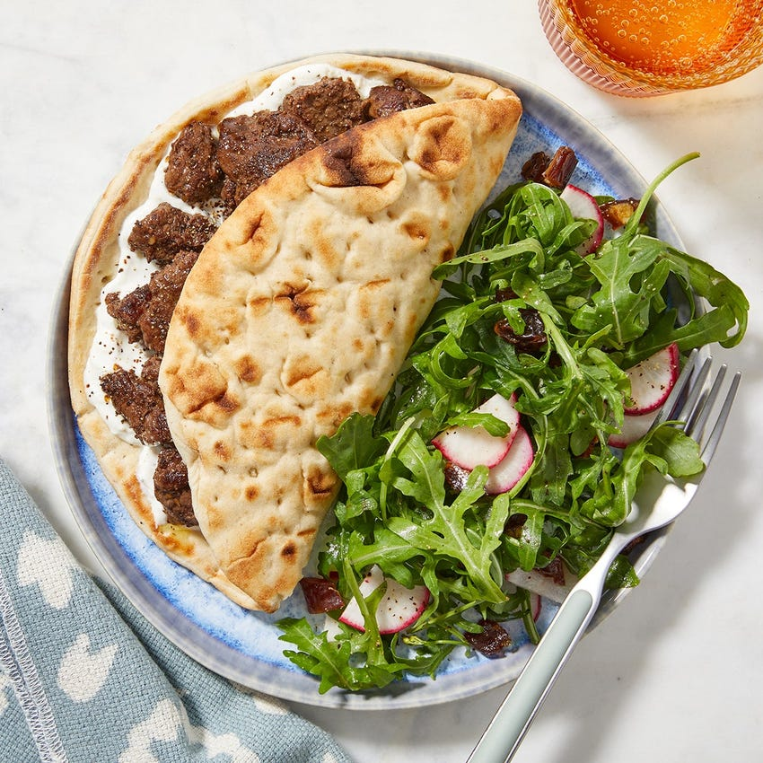 Middle Eastern-Style Beef Pitas with Arugula & Date Salad