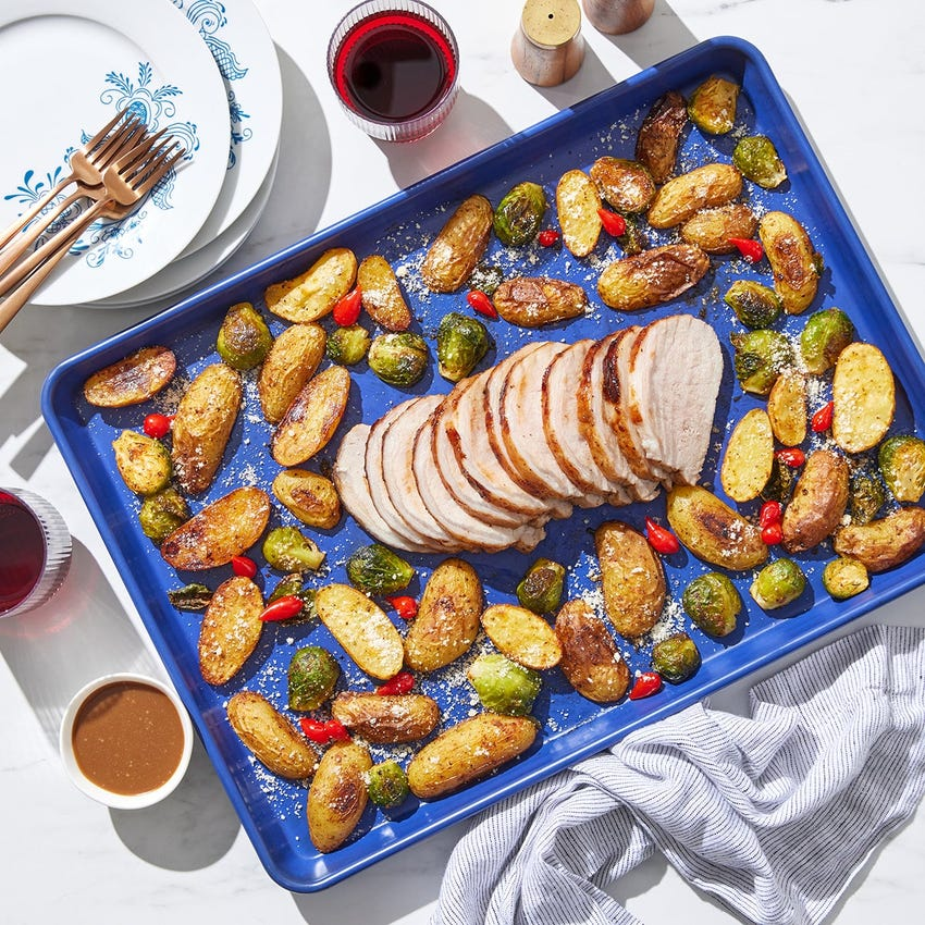 Sheet Pan Balsamic Pork Roast with Brussels Sprouts & Fingerling Potatoes