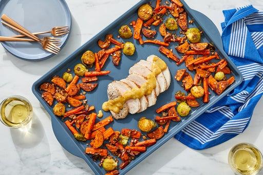 Sheet Pan Pork Roast with Roasted Vegetables & Fig-Dijon Sauce