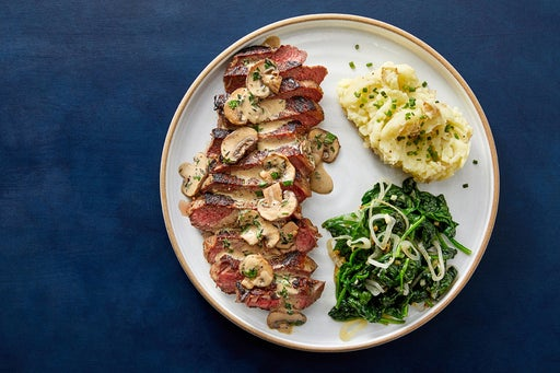NY Strip Steaks & Herb-Mushroom Pan Sauce with Spinach & Buttermilk Mashed Potatoes
