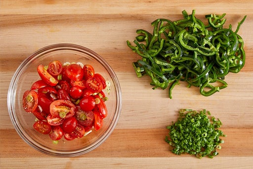 Prepare the ingredients & dress the tomatoes