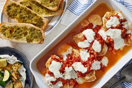 Mozzarella & Tomato Baked Chicken with Zucchini & Pesto Garlic Bread