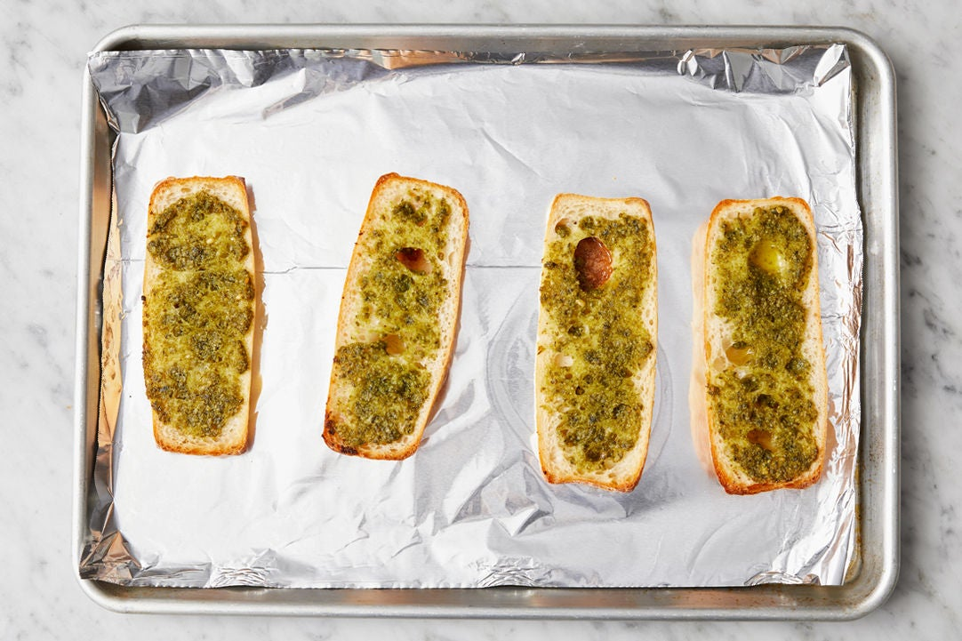 Make the pesto garlic bread: