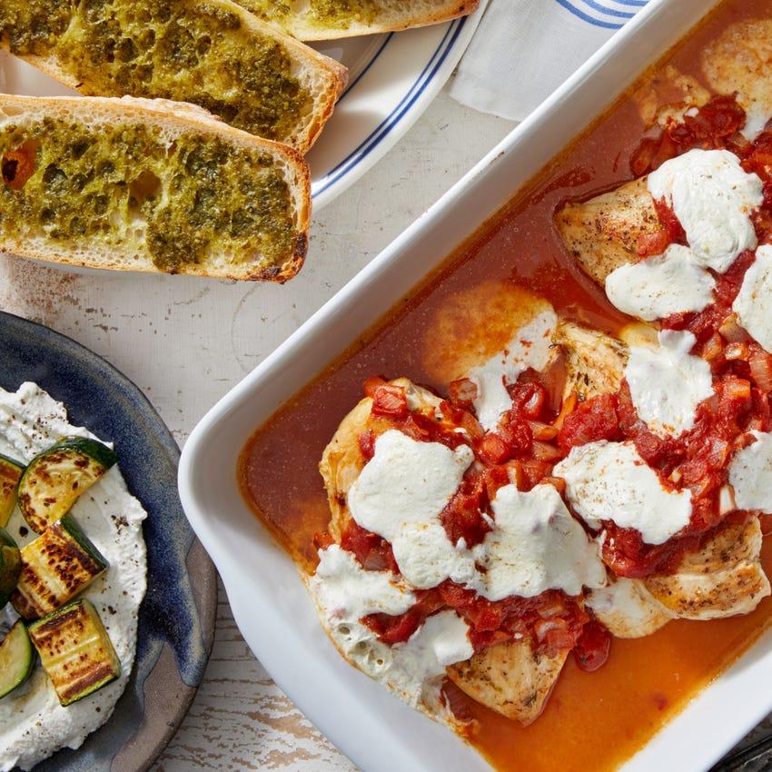 Mozzarella & Tomato Baked Chicken with Zucchini & Pesto Garlic Bread
