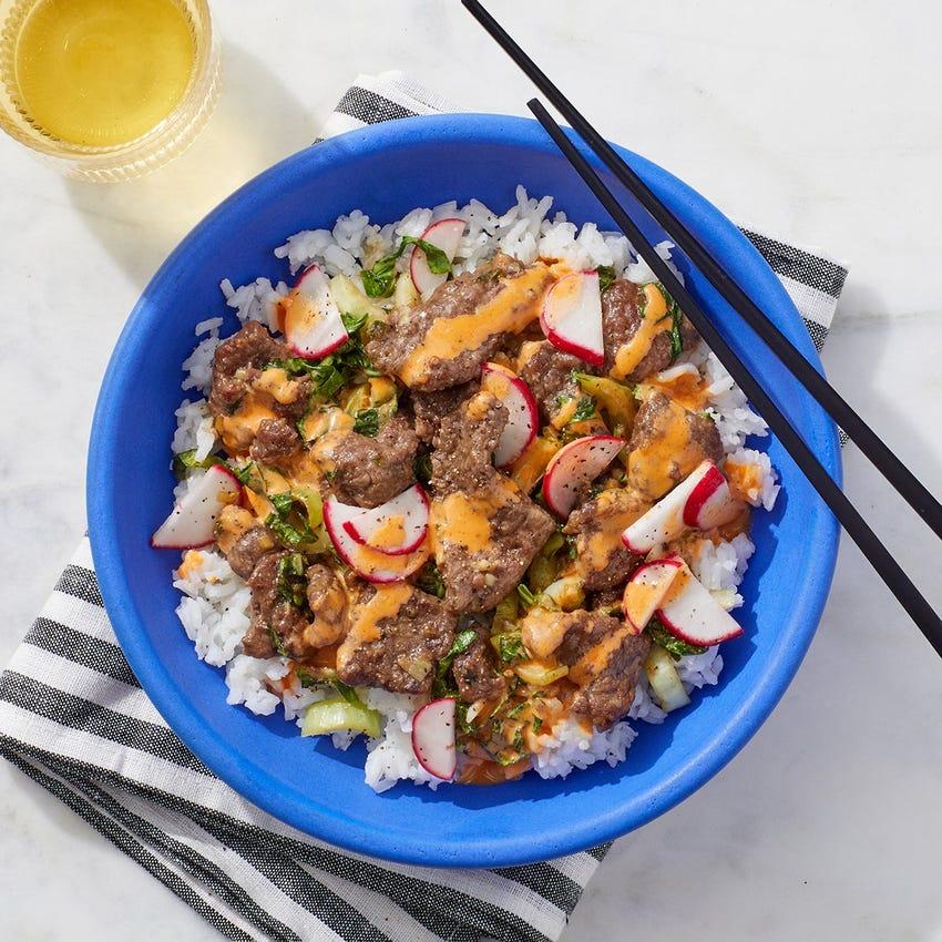 Sautéed Beef & Bok Choy with Marinated Radishes & Spicy Mayo