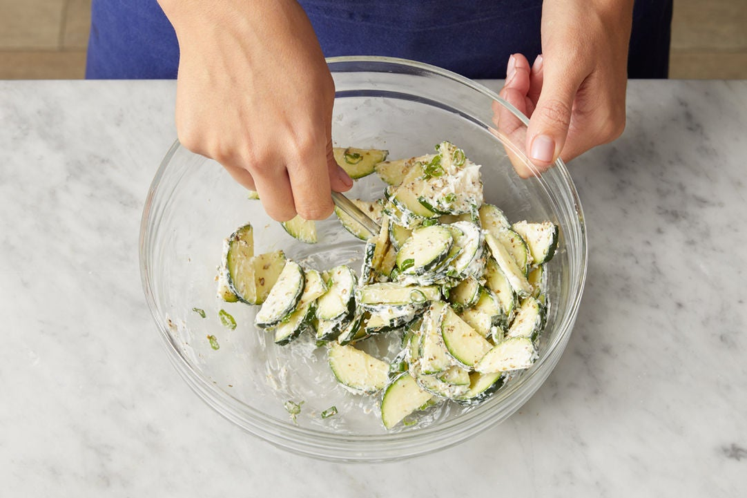 Dress the zucchini & serve your dish: