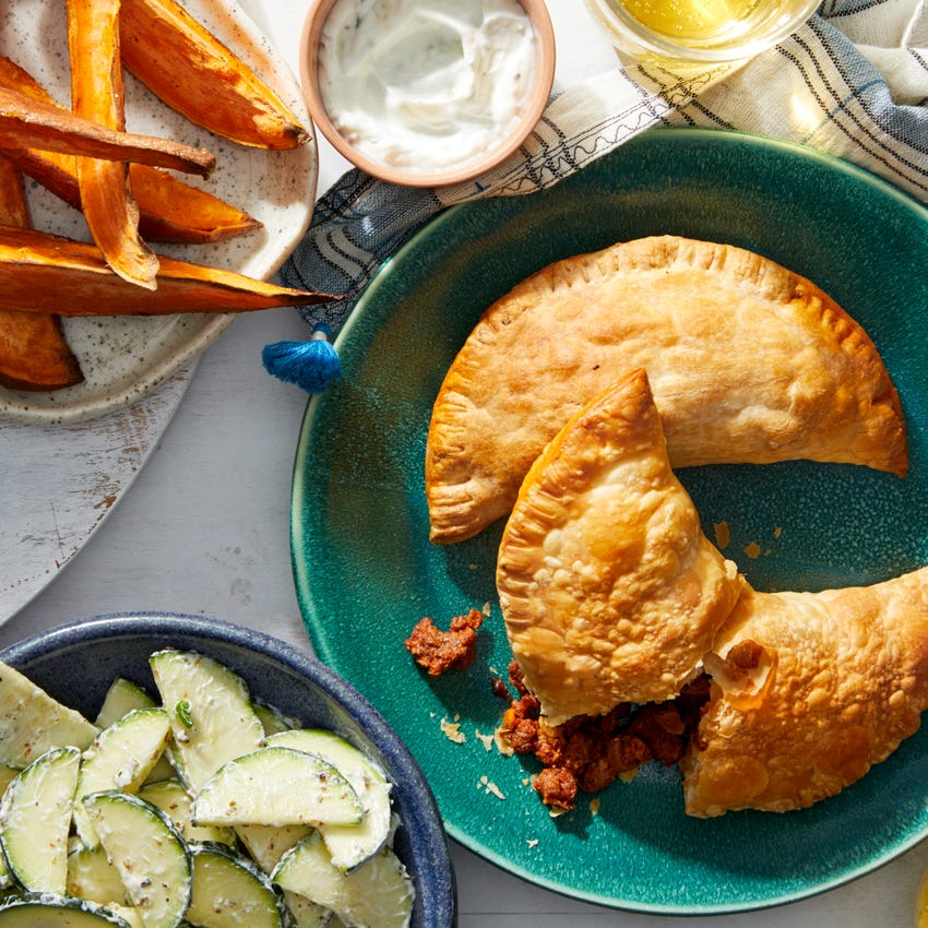 Buenos Aires Beef Empanadas with Roasted Sweet Potatoes & Creamy Zucchini