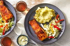 Southern Spiced Fish & Tartar Sauce with Buttermilk Mashed Potatoes & Sweet Pepper Slaw