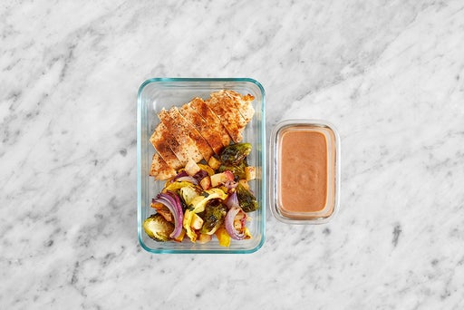 Assemble & Store the Chicken & Roasted Veggies