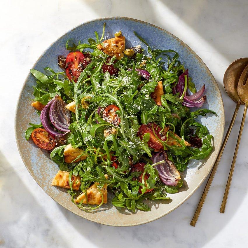 Tomato & Arugula Salad with Parmesan & Baked Pita Croutons