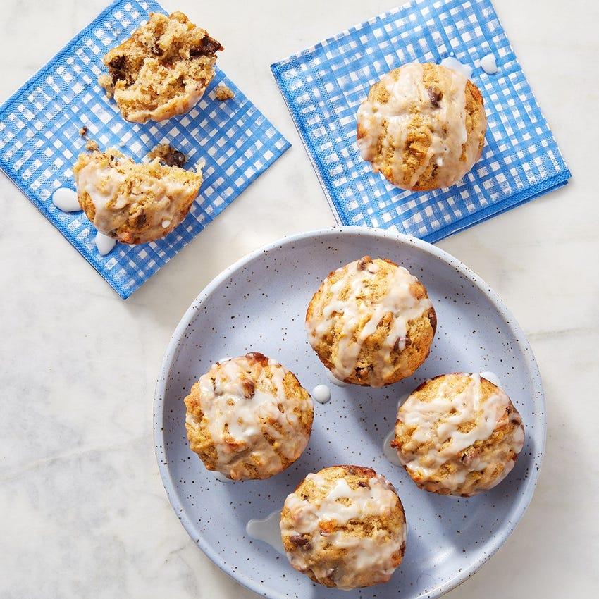 Pear & Chocolate Muffins with Lemon Glaze
