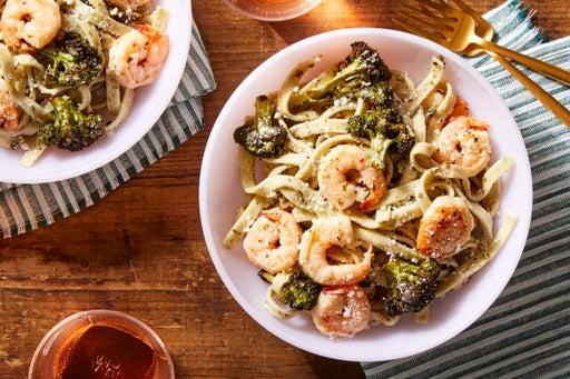 Shrimp & Fresh Basil Fettuccine with Roasted Broccoli