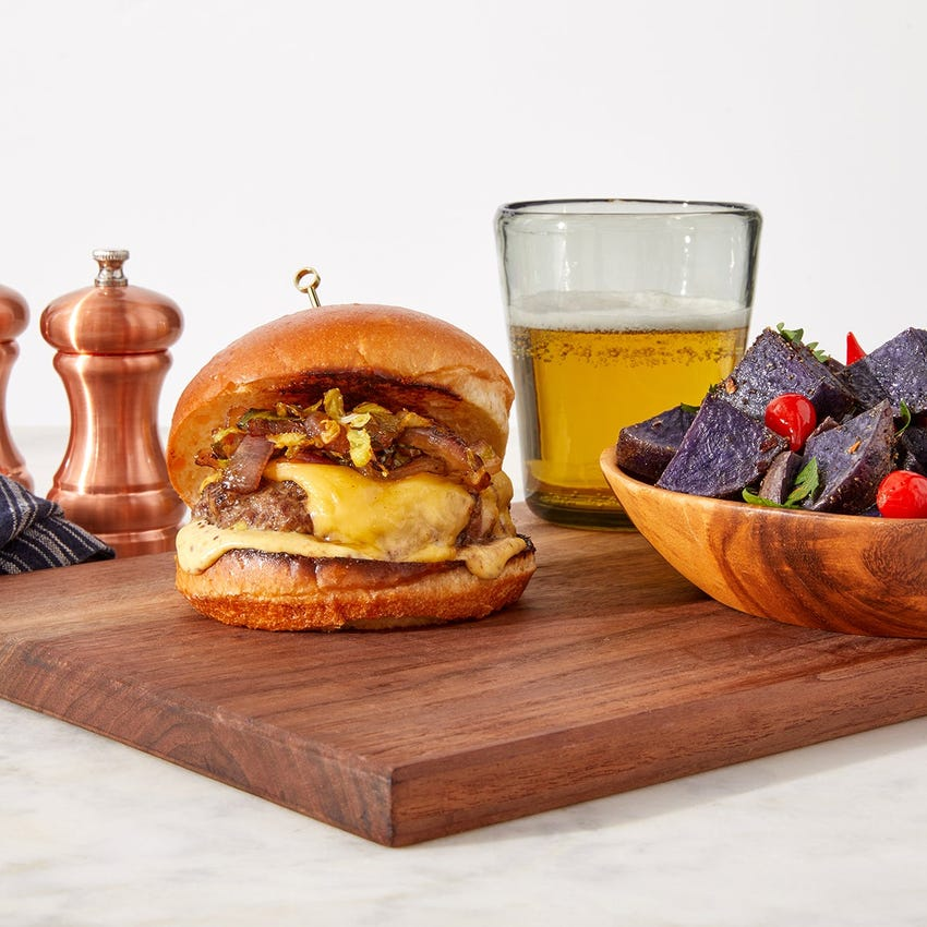 Smoked Gouda Burgers with Spicy Maple Brussels Sprouts & Roasted Purple Potatoes