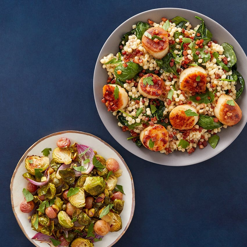 Seared Scallops & Pancetta Pasta with Roasted Brussels Sprouts, Grapes & Pistachios