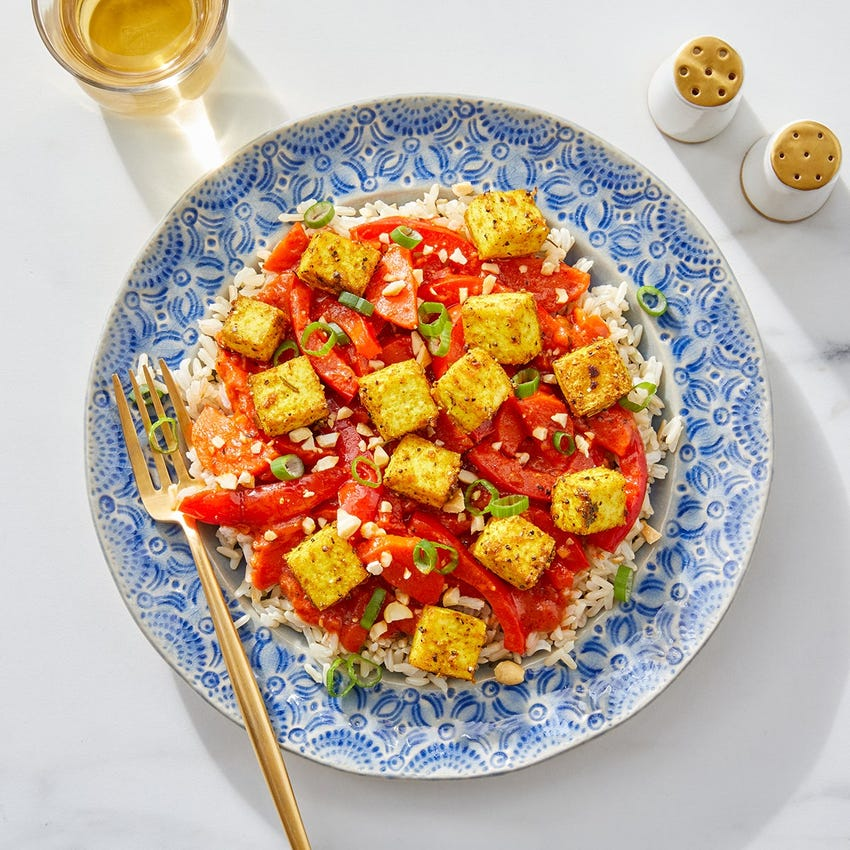 Baked Tofu & Creamy Tomato Curry with Brown Rice & Cashews