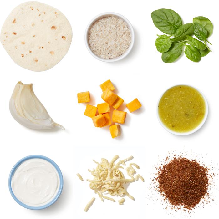 Cheesy Tomatillo Enchiladas with Butternut Squash, Spinach & White Rice
