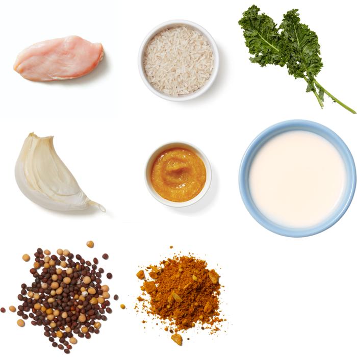 Vadouvan Chicken & Mango Chutney Sauce with Kale & Mustard Seed Rice