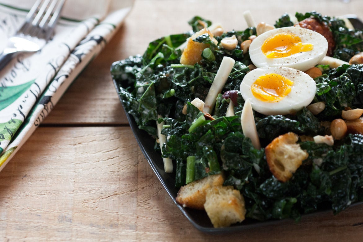 Kale Caesar Salad with Soft Boiled Egg, Toasted Hazelnuts & Homemade ...