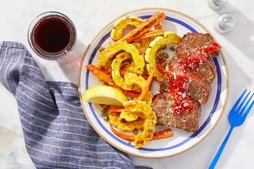 Italian Meatloaf & Spicy Ketchup with Lemon-Caper Roasted Vegetables