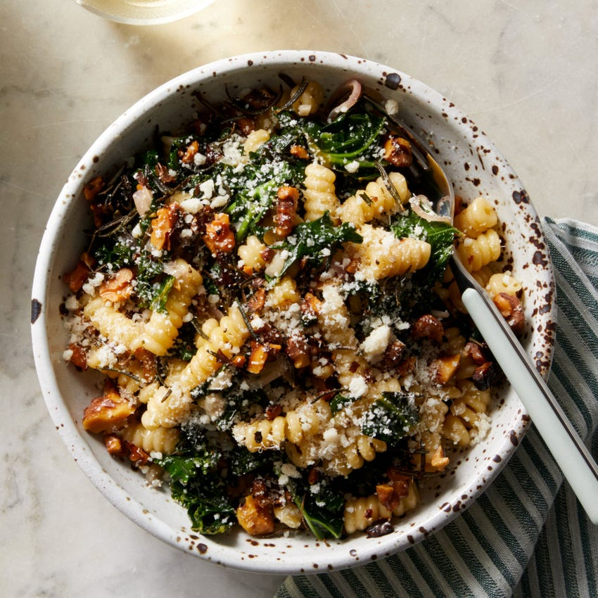 Creamy Kale Pasta with Fried Rosemary & Walnuts