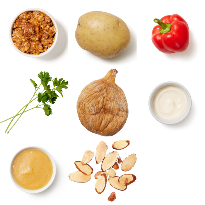 Pork Chorizo, Potato & Fig Bake with Almonds & Lemon Mayo