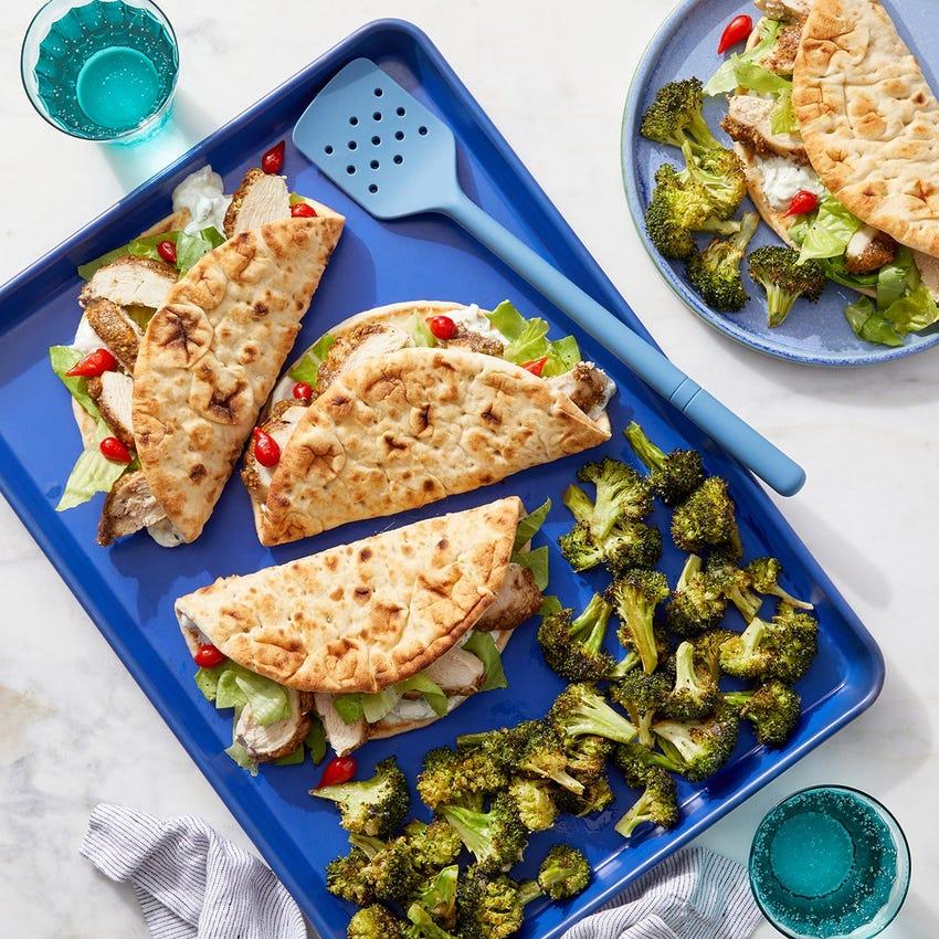 Sheet Pan Za'atar Chicken Pitas with Lemon-Garlic Broccoli