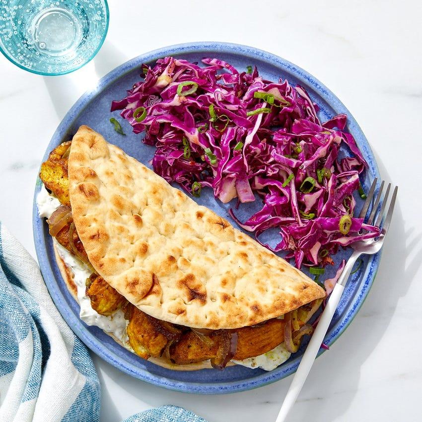 Curry Chicken Pitas with Tzatziki & Sweet Chili Slaw